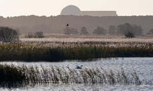 RSPB Minsmere in Suffolk with the existing Sizewell power station in the distance. The new plant would be built nearby.
