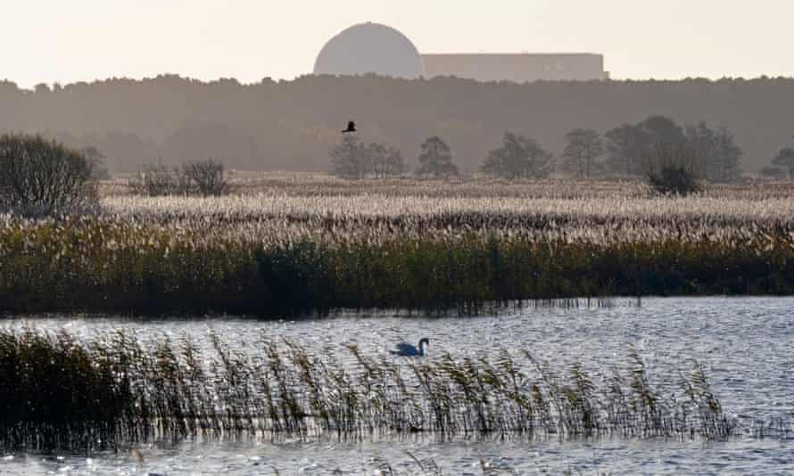 RSPB Minsmere Suffolk UK with Sizewell power station