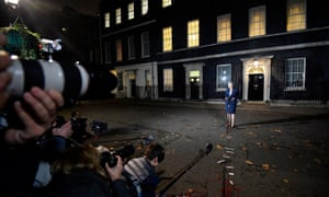 Theresa May makes her statement outside No 10.