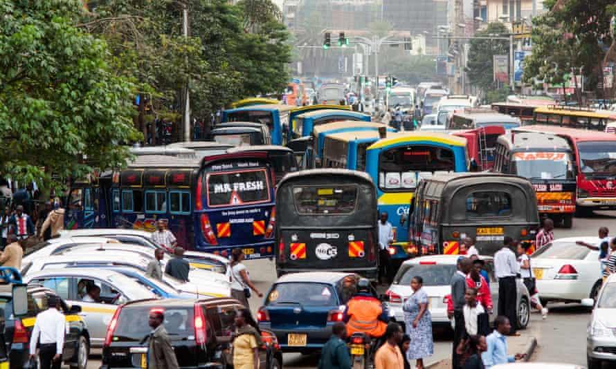 Peak hour traffic on Tom Mboya Avenue, Nairobi, Kenya.