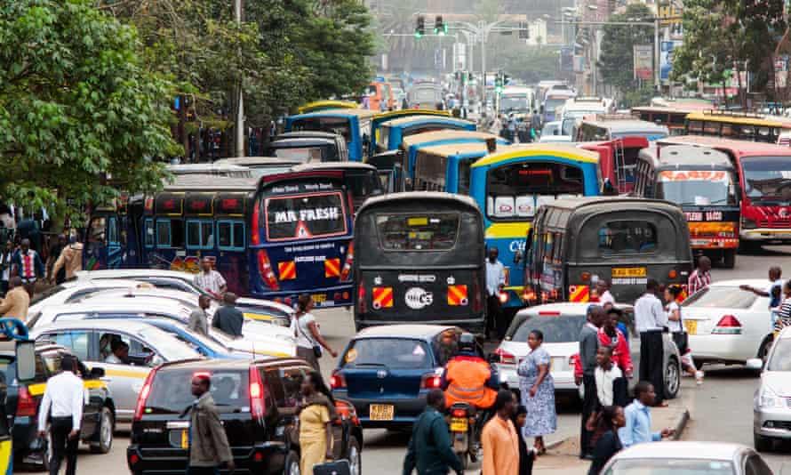 Peak hour traffic on Tom Mboya Avenue, Nairobi,