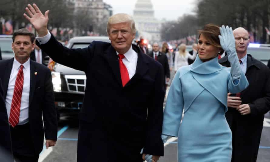 Donald and Melania Trump during the inauguration parade on Pennsylvania Avenue, Washington DC.