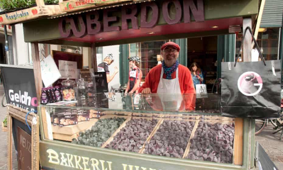 Truly scrumptious: a cuberdon sweet seller.