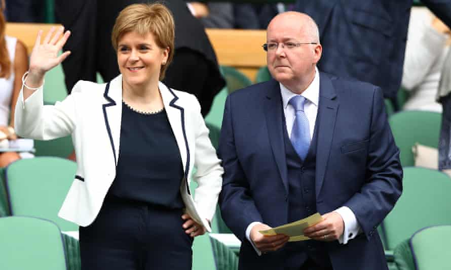 Nicola Sturgeon with her husband Peter Murrell, chief executive of the SNP, who is to give evidence tomorrow.