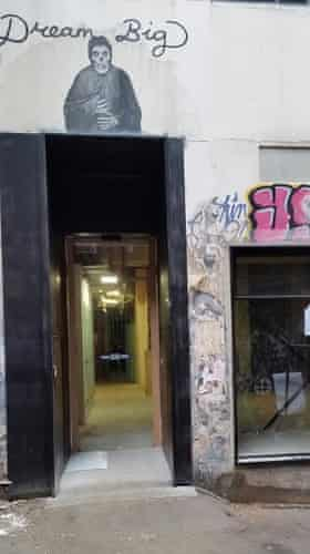 The painted-over doorway in ACDC Lane
