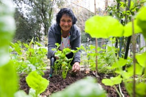 Masalo tends to her plot in the communal allotment of Waterloo green