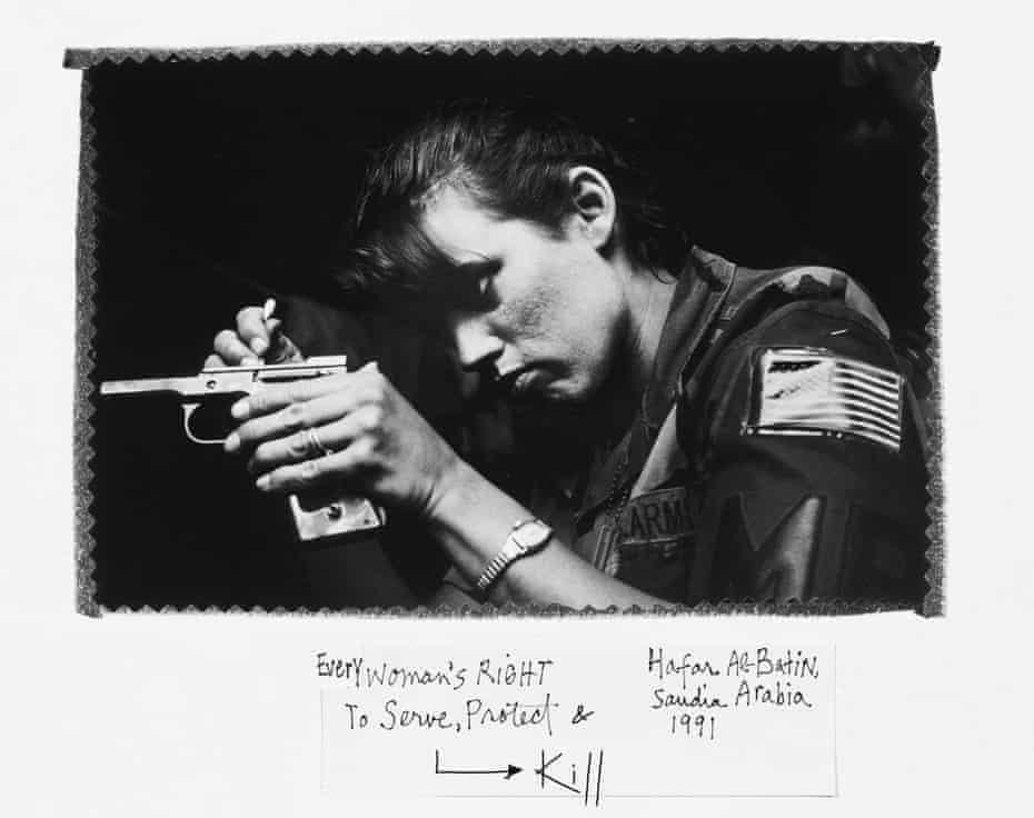 Soldier getting ready for guard duty during the Gulf war in Hafar al-Batin, Saudi Arabia, 1991