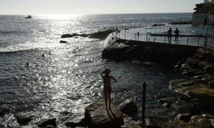 People enjoying the cooler morning conditions at Bronte beach in Sydney's east on Friday morning .