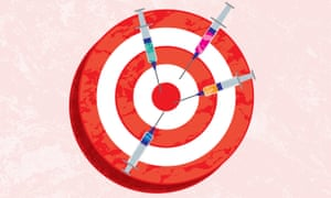 Illustration by James Melaugh of a dartboard stuck with syringes.