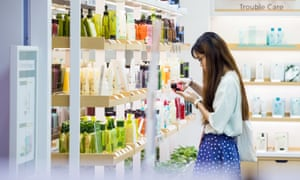 A woman in South Korea browsing skincare products.