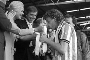Coventry City captain Brian Kilcline kisses the FA Cup as the Duchess of Kent hands it over.