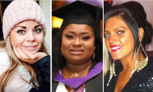 From left: Melissa Kerr, Abimbola Ajoke Bamgbos and Leah Cambridge, who all died as a result of having BBL surgery.