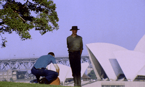 Peter Garrett in front of the Sydney Opera House
