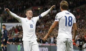 Wayne Rooney celebrating after England's Harry Kane scored during the Euro 2016 qualifying group E football match between England and Switzerland at Wembley Stadium in 2015.