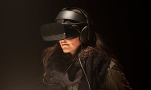 A viewer watching Real Violence by Jordan Wolfson, a violent virtual reality artwork, showing at Dark Mofo in 2019.