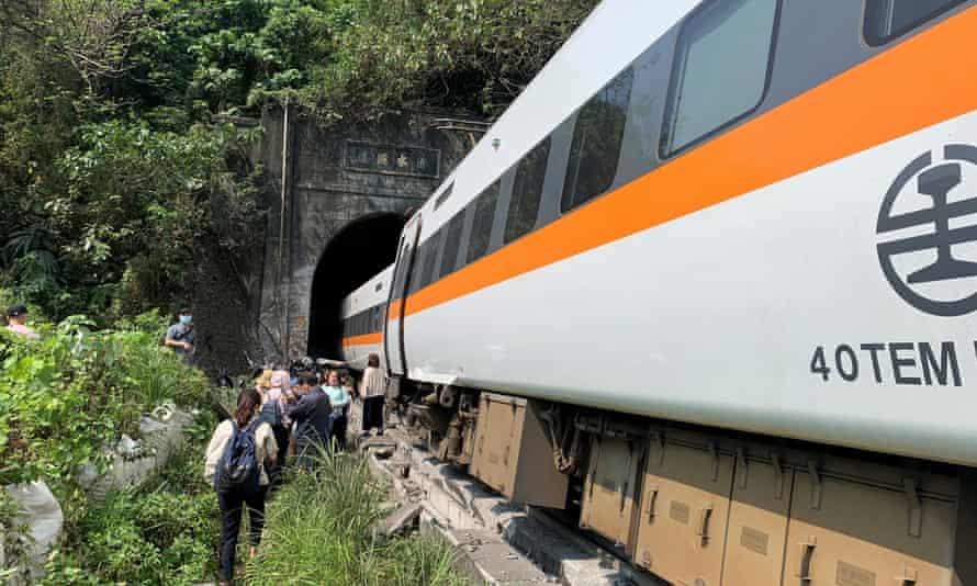 The train derailed in a tunnel in Hualien county in eastern Taiwan. Dozens are feared dead.