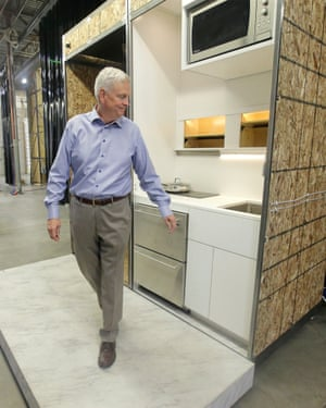 David Hall with a 'modular' kitchen design in Provo, Utah. Hall, a wealthy Mormon businessman, plans communities of tiny dwellings based on the teachings of church founder Joseph Smith.