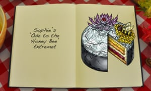 Sophie's Ode to the Honey Bee Entremet, an illustration for the Great British Bake Off creation by Tom Hove.