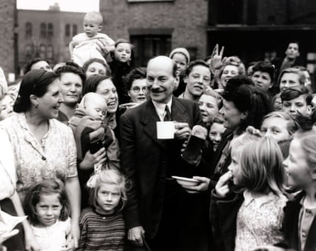Politics, London, England, 5th July 1945, The Deputy Prime Minister in the wartime coalition Clement Attlee, pictured chatting to constituents in his Limehouse constituency where he is the Labour candidate for the General Election, Attlee was brought to power and was the first Prime Minister after the end of the Second World War (Photo by Popperfoto/Getty Images)