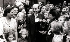 Clement Attlee and constituents in the Limehouse constituency in 1945
