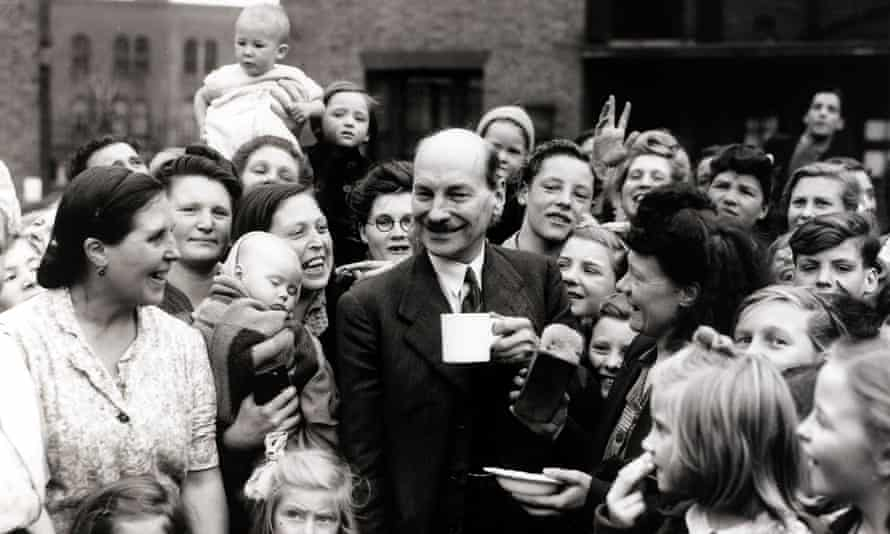 A modest man … Attlee with his Limehouse constituents on election day in 1945