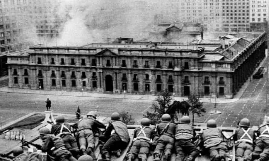 Chilean troops fire on the La Moneda Palace, Santiago, on 11 September 1973 during the military coup led by General Augusto Pinochet.