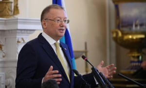 Alexander Yakovenko, the Russian ambassador tothe UK, speaking at his press conference this afternoon.