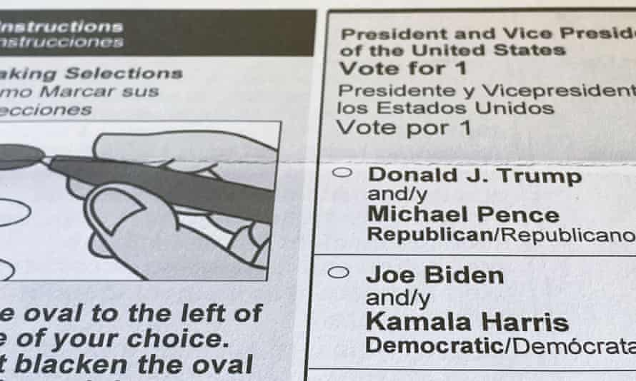 An official mail-in ballot from the state of Maryland for the 3 November 2020 U.S. presidential election.