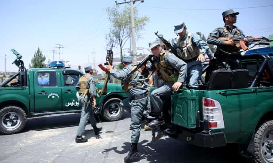 Afghan police deploy near the airport in Kabul, Afghanistan.