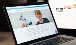 Web homepage of NGO Transparency International.