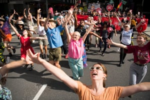 A 'Flash Mob appears ahead of approximately 5,000 people