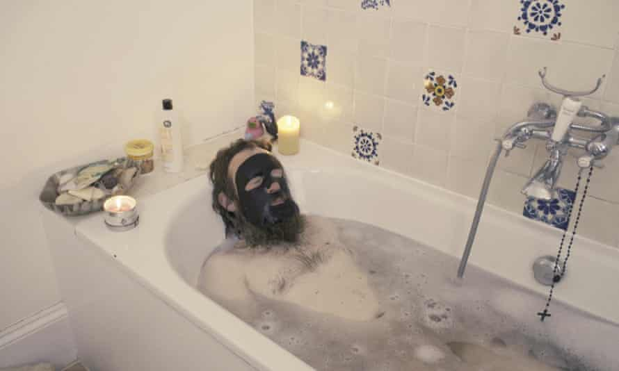 Mikel, a homeless Slovakian man, in Marc Isaacs' bath in The Filmmaker's House.