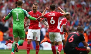 Charlton Athletic v Sunderland - Sky Bet League One Play-off Final<br>LONDON, ENGLAND - MAY 26: Dillon Phillips, Patrick Bauer and Jason Pearce of Charlton Athletic celebrate victory at the final whistle during the Sky Bet League One Play-off Final match between Charlton Athletic and Sunderland at Wembley Stadium on May 26, 2019 in London, United Kingdom. (Photo by Charlie Crowhurst/Getty Images)