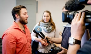 Two of the donor-conceived children at the court to hear the ruling in the Jan Karbaat case in Rotterdam.