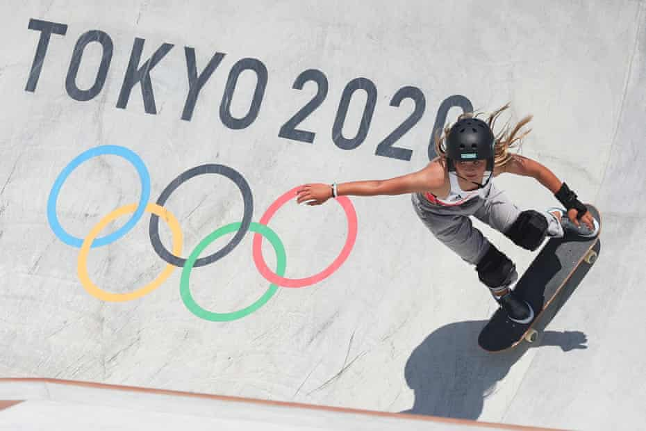 Sky Brown competes during the skateboarding park final