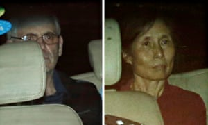 Peter Humphrey and his wife, Yu Yingzeng, leaving court in China in 2014