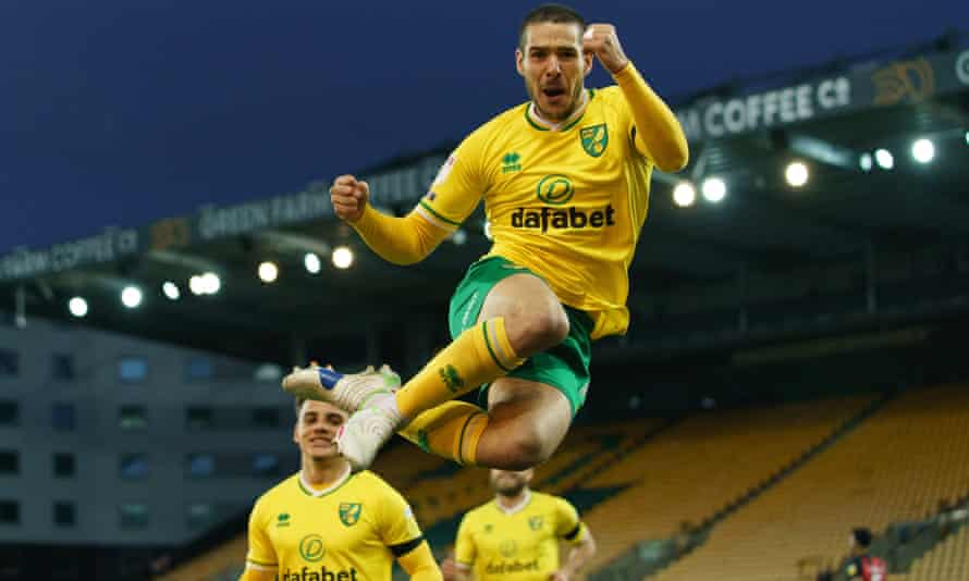 Emi Buendía celebrates after scoring for Norwich against Bournemouth this month.