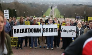 Anti-Brexit campaigners protest outside Stormont in Belfast.