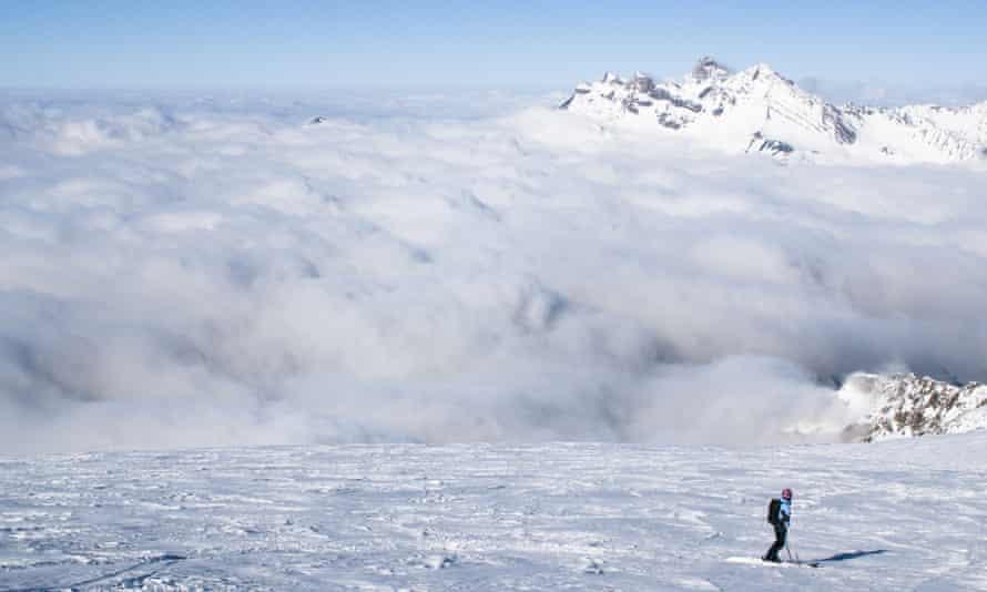 A skier on the glacier of La Meije.