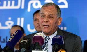 Mohamed Anwar al-Sadat at a press conference in Cairo
