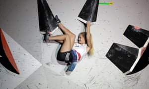 Shauna Coxsey competes at the Climbing World Championships in Tokyo last summer, and will return to Japan in July for the Olympics.
