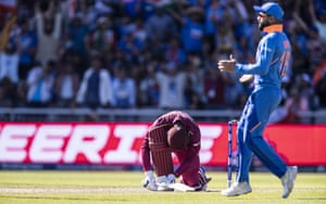 Shimron Hetmyer of West Indies despairs after losing his wicket.