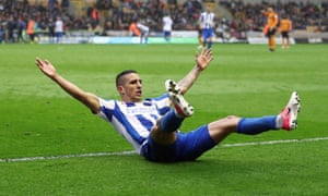 Brighton's Anthony Knockaert enjoys the moment after his second goal secured an impressive win over Wolves.