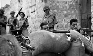 Soldiers of the British army and the Palestinian police force in Jerusalem