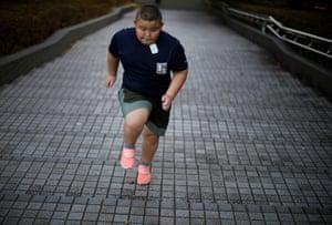 Kumagai runs up stairs while training at Track Tokyo Running Club