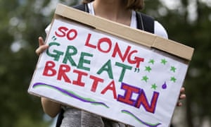 A protester against the outcome of the EU referendum