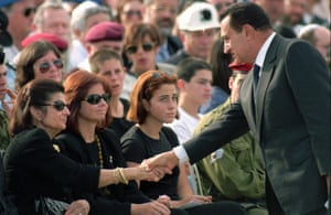 Rabin's widow, daughter and granddaughter Noa at his funeral, with the Egyptian president Hosni Mubarak