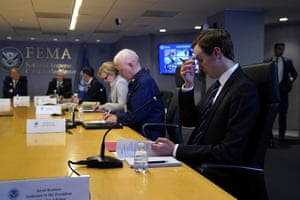 White House adviser Jared Kushner attends a teleconference with governors at the Federal Emergency Management Agency headquarters, Thursday, March 19, 2020, in Washington.