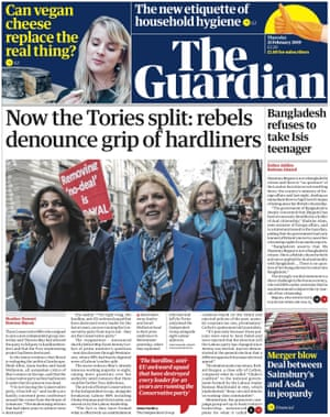 Guardian front page, Thursday 21 February 2018