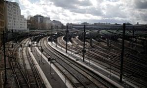 Empty platforms at Gare de l'Est train station in Paris
